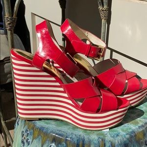 Michael Kors Leather Red stripe wedge platforms